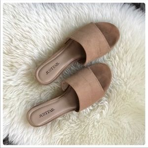 JustFab Tan Faux Suede Wedge Slides size 6.5